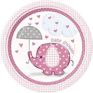 Umbrellaphants roze bordjes 23 cm 8 stuks