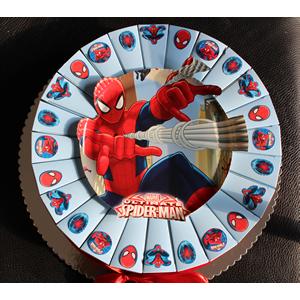 Spiderman traktatietaart 24 puntjes