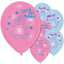 Peppa Pig ballonnen 27 cm 6 stuks